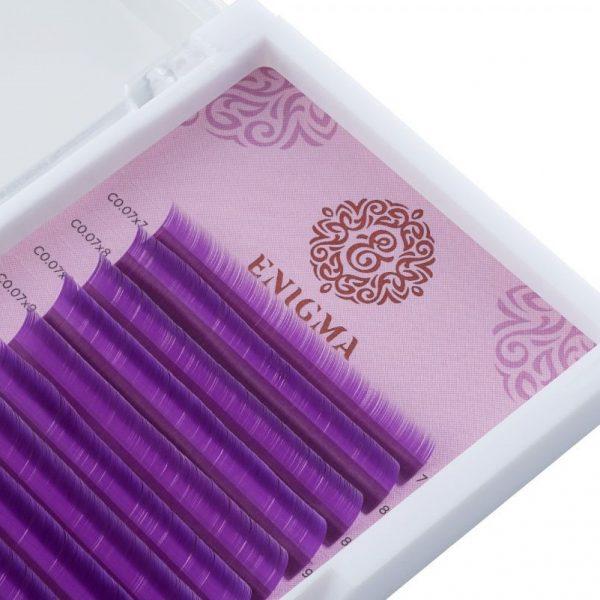 Цветные ресницы Enigma микс C Фмолетовый (16 линий).